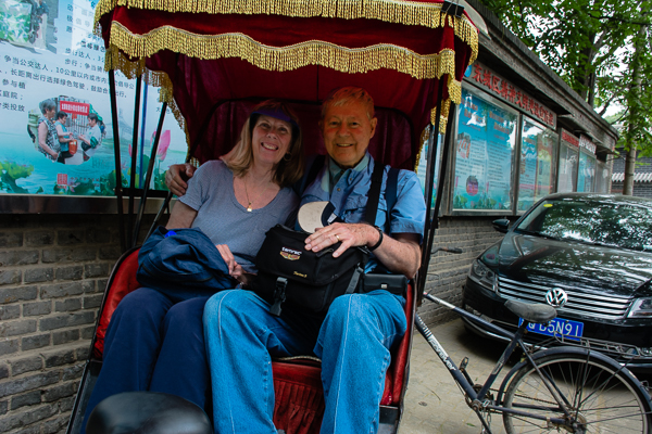 Rebecca and Sunny on rickshaw ride in Beijing.