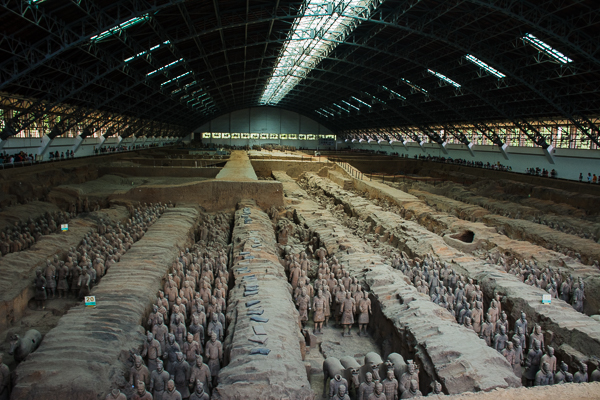 Terracotta Warriors on display in large museum.