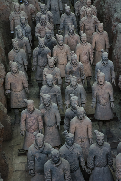 Closeup view of Terracotta Warriors.