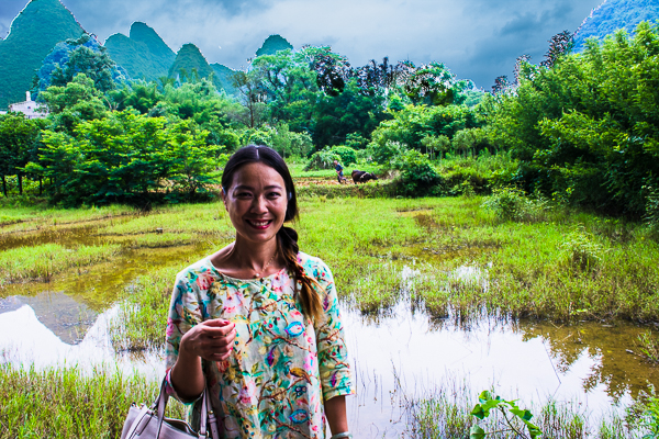 Local guide Ping (Effie) in Guilin, Li River, Yangshuo, and countryside.