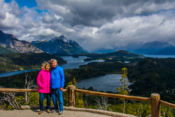 Rebecca and Sunny at the summit of Cerro Otto mear Bariloche in Argentina.