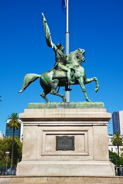 Equestrian monument to General Manuel Belgrano at the Plaza de Mayo, Buenos Aires.