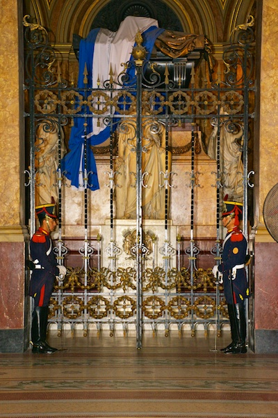 Mausoleum of General San Martín with guards in the Metropolitan Cathedral in Buenos Aires.