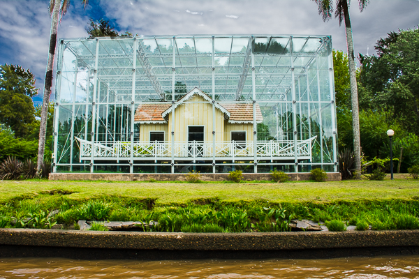 The president Sarmiento House covered with glass on the Plata River north of Buenos Aires.