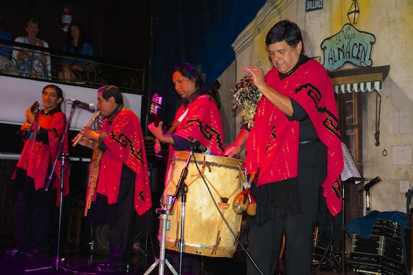 Musicians performing indigenous nusic at tango dance show in Buenos Aires.