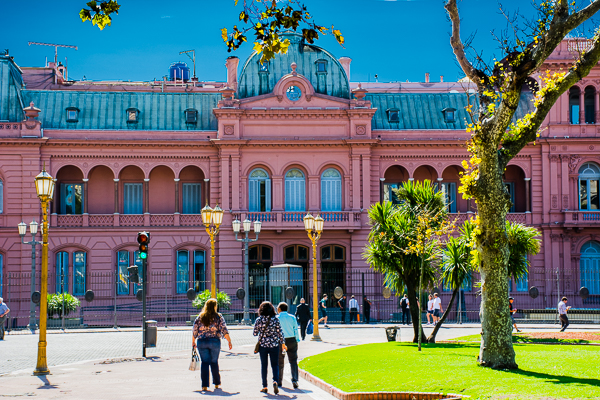 Pink House, the president's house at the Plaza de Mayo in Buenos Aires.