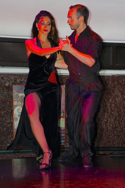 Dancers performing at the tango dance show in Buenos Aires.