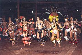 Dancers in Amazon Jungle in Brazil.