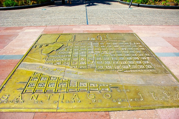 Bronze city map of Santiago, Chile in 1712 shown on the payment in Plaza de Armas.