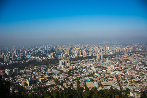 View of Santiago, Chile from a lookout at the summit of the Metropolitan Park.