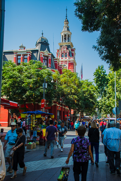 Attractive City walk in Plaza de Armas, Santiago, Chile.