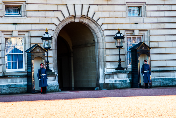Guards at Buckingham Palace in London.