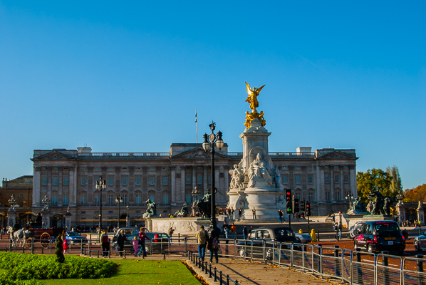 The Victoria Memorial in front of Buckingham Palace in London.