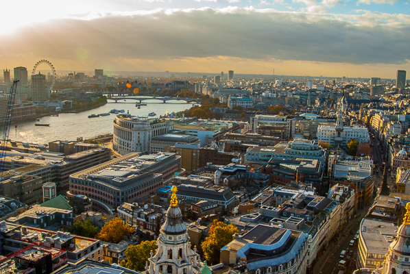 View of London from the Golden Gallery of St. Paul's Cathedral.