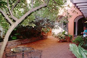 French Quarter hotel courtyard.
