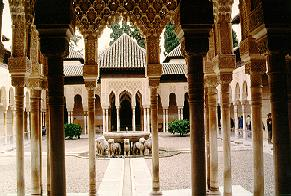 Court of Lions in the Alhambra in Granada, Spain.